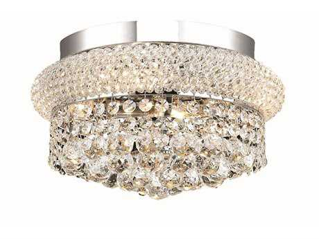 Elegant Lighting Primo Royal Cut Chrome & Crystal Four-Light 12'' Wide Flush Mount Light