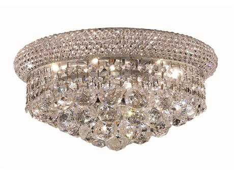 Elegant Lighting Primo Royal Cut Chrome & Crystal Six-Light 14'' Wide Flush Mount Light