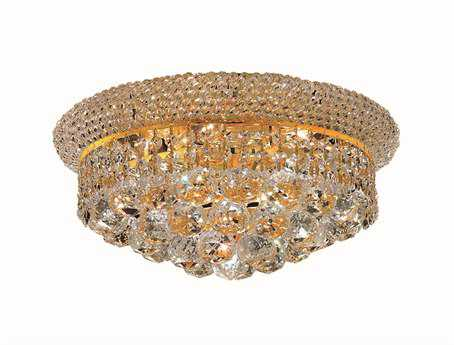 Elegant Lighting Primo Royal Cut Gold & Crystal Six-Light 14'' Wide Flush Mount Light