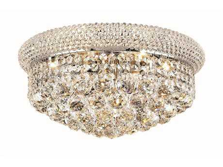 Elegant Lighting Primo Royal Cut Chrome & Crystal Eight-Light 16'' Wide Flush Mount Light