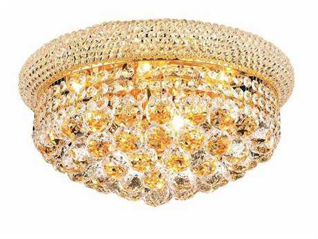 Elegant Lighting Primo Royal Cut Gold & Crystal Eight-Light 16'' Wide Flush Mount Light