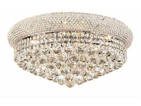 Elegant Lighting Primo Royal Cut Chrome & Crystal Ten-Light 20'' Wide Flush Mount Light