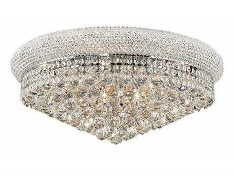 Elegant Lighting Primo Royal Cut Chrome & Crystal 12-Light 24'' Wide Flush Mount Light
