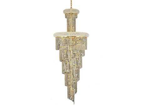 Elegant Lighting Spiral Royal Cut Gold & Crystal 22-Light 22'' Wide Grand Chandelier