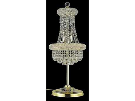 Elegant Lighting Primo Royal Cut Gold & Crystal Six-Light Table Lamp