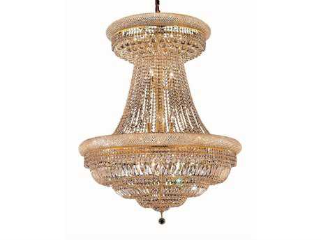 Elegant Lighting Primo Royal Cut Gold & Crystal 28-Light 36'' Wide Grand Chandelier