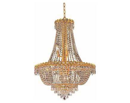 Elegant Lighting Century Royal Cut Gold & Crystal 12-Light 24'' Wide Chandelier