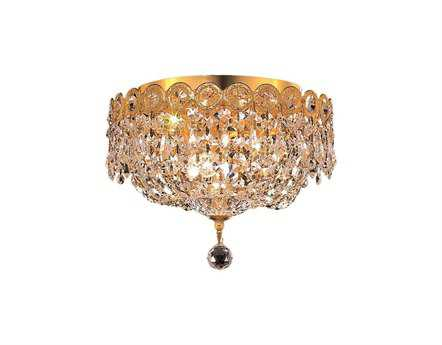 Elegant Lighting Century Royal Cut Gold & Crystal Three-Light 10'' Wide Flush Mount Light