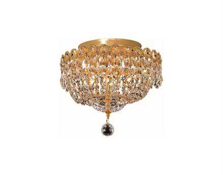 Elegant Lighting Century Royal Cut Gold & Crystal Four-Light 12'' Wide Semi-Flush Mount Light