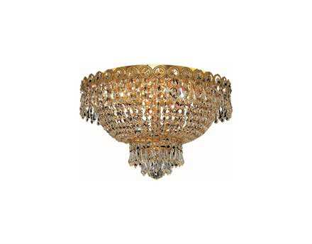 Elegant Lighting Century Royal Cut Gold & Crystal Four-Light 16'' Wide Flush Mount Light