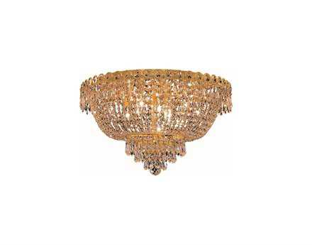 Elegant Lighting Century Royal Cut Gold & Crystal Nine-Light 20'' Wide Flush Mount Light