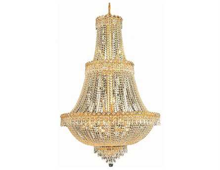 Elegant Lighting Century Royal Cut Gold & Crystal 17-Light 30'' Wide Grand Chandelier