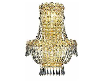 Elegant Lighting Century Royal Cut Gold & Crystal Three-Light Wall Sconce