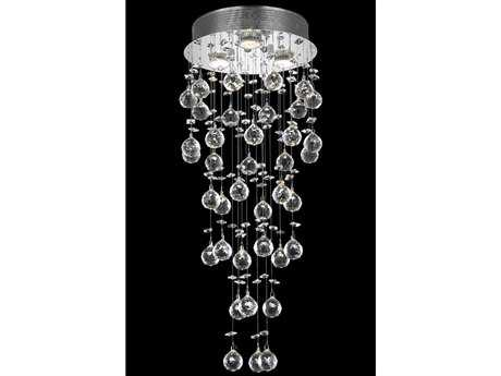 Elegant Lighting Galaxy Royal Cut Chrome & Crystal Three-Light 12'' Wide Flush Mount Light