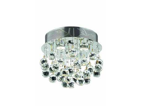 Elegant Lighting Galaxy Royal Cut Chrome & Crystal Three-Light 13'' Wide Flush Mount Light
