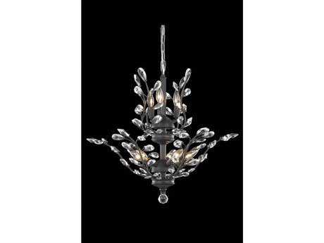 Elegant Lighting Orchid Royal Cut Dark Bronze & Crystal Eight-Light 21'' Wide Chandelier