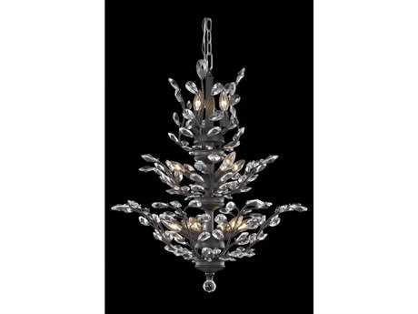Elegant Lighting Orchid Royal Cut Dark Bronze & Crystal 13-Light 27'' Wide Chandelier