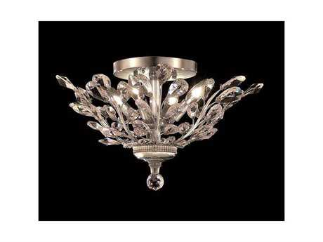Elegant Lighting Orchid Royal Cut Chrome & Crystal Four-Light 20'' Wide Semi-Flush Mount Light