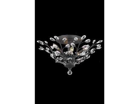 Elegant Lighting Orchid Royal Cut Dark Bronze & Crystal Six-Light 27'' Wide Semi-Flush Mount Light