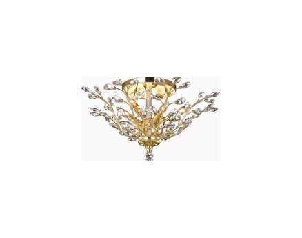 Elegant Lighting Orchid Royal Cut Gold & Crystal Six-Light 27'' Wide Semi-Flush Mount Light