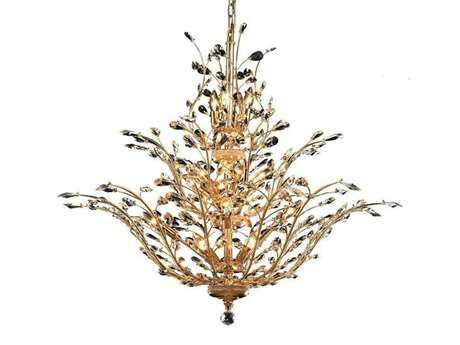 Elegant Lighting Orchid Royal Cut Gold & Crystal 18-Light 41'' Wide Chandelier