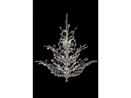 Elegant Lighting Orchid Royal Cut Chrome & Golden Teak 25-Light 41'' Wide Grand Chandelier