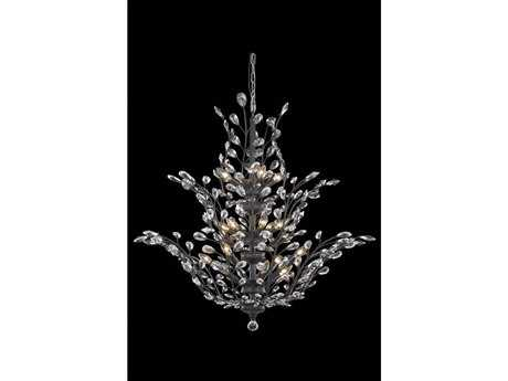 Elegant Lighting Orchid Royal Cut Dark Bronze & Crystal 25-Light 41'' Wide Grand Chandelier