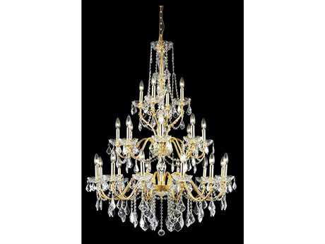 Elegant Lighting St. Francis Royal Cut Gold & Crystal 24-Light 36'' Wide Grand Chandelier
