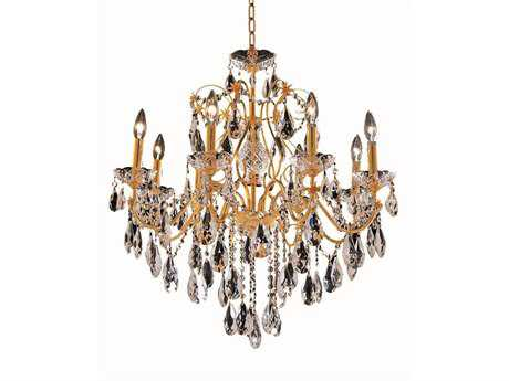 Elegant Lighting St. Francis Royal Cut Gold & Crystal Eight-Light 26'' Wide Chandelier