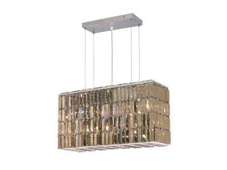 Elegant Lighting Maxim Royal Cut Chrome & Golden Teak Eight-Light 26'' Long Island Light
