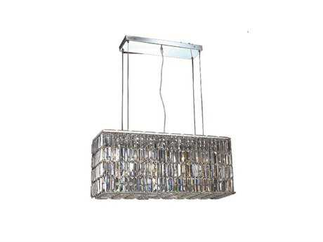 Elegant Lighting Maxim Royal Cut Chrome & Crystal Eight-Light 32'' Long Island Light