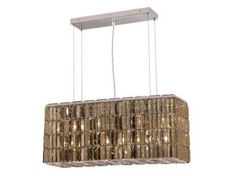 Elegant Lighting Maxim Royal Cut Chrome & Golden Teak Eight-Light 32'' Long Island Light