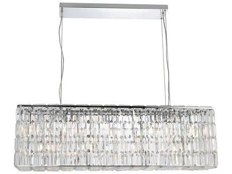Elegant Lighting Maxim Royal Cut Chrome & Crystal Eight-Light 44'' Long Island Light