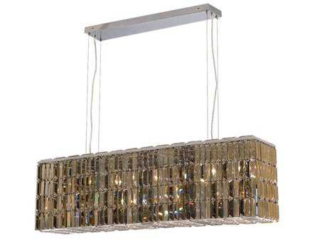 Elegant Lighting Maxim Royal Cut Chrome & Golden Teak Eight-Light 44'' Long Island Light