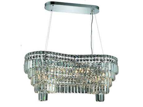Elegant Lighting Maxim Royal Cut Chrome & Crystal 14-Light 32'' Long Island Light