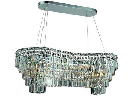 Elegant Lighting Maxim Royal Cut Chrome & Crystal 14-Light 40'' Long Island Light