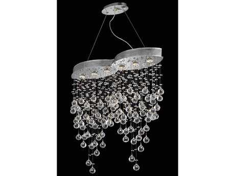 Elegant Lighting Galaxy Elegant Cut Chrome & Crystal Six-Light 33'' Long Island Light