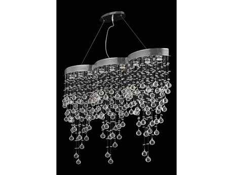 Elegant Lighting Galaxy Elegant Cut Chrome & Crystal Nine-Light 48'' Long Island Light