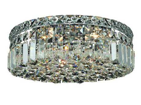 Elegant Lighting Maxim Royal Cut Chrome & Crystal Four-Light 14'' Wide Flush Mount Light