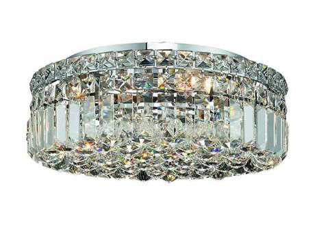 Elegant Lighting Maxim Royal Cut Chrome & Crystal Five-Light 16'' Wide Flush Mount Light
