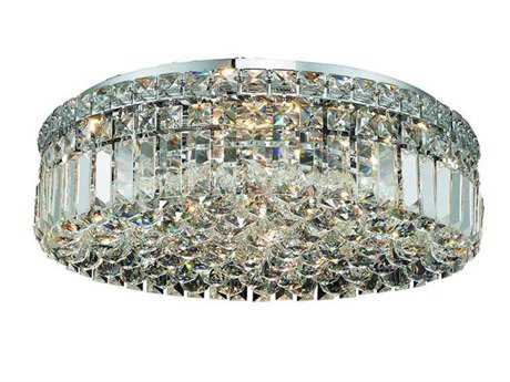 Elegant Lighting Maxim Royal Cut Chrome & Crystal Six-Light 20'' Wide Flush Mount Light