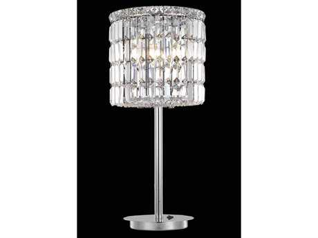 Elegant Lighting Maxim Royal Cut Chrome & Crystal Three-Light Table Lamp