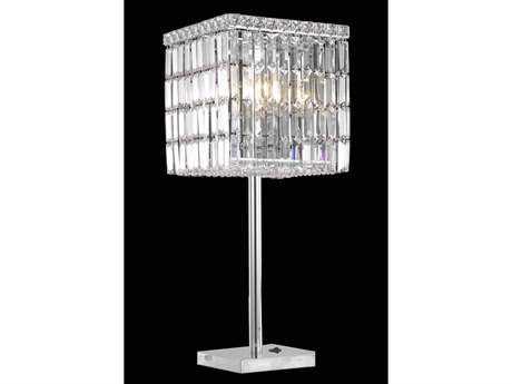 Elegant Lighting Maxim Royal Cut Chrome & Crystal Three-Light Table Lamp