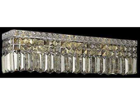 Elegant Lighting Maxim Royal Cut Chrome & Golden Teak Four-Light Vanity Light