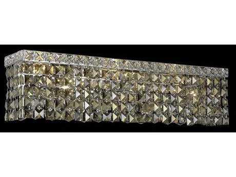 Elegant Lighting Maxim Royal Cut Chrome & Golden Teak Four-Light Vanity Light