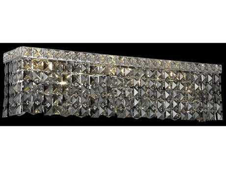 Elegant Lighting Maxim Royal Cut Chrome & Silver Shade Four-Light Vanity Light
