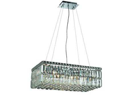 Elegant Lighting Maxim Royal Cut Chrome & Crystal Six-Light 24'' Long Island Light