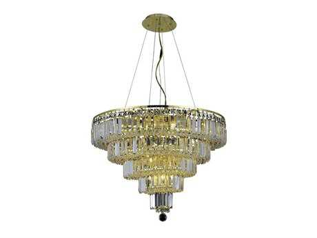 Elegant Lighting Maxim Royal Cut Gold & Crystal 14-Light 26'' Wide Chandelier