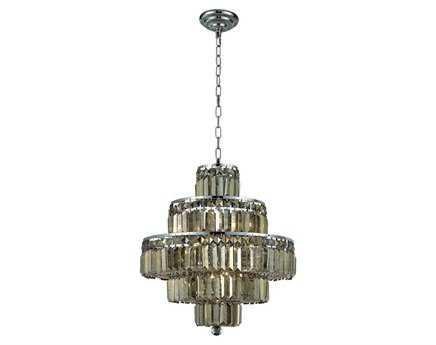 Elegant Lighting Maxim Royal Cut Chrome & Golden Teak 13-Light 20'' Wide Mini Chandelier