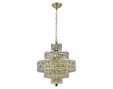 Elegant Lighting Maxim Royal Cut Gold & Crystal 13-Light 20'' Wide Mini Chandelier
